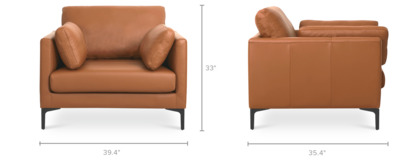 dimension of Adams Armchair Leather