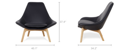 dimension of Gable High Armchair Leather