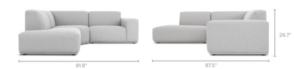 dimension of Todd Sectional Chaise Sofa