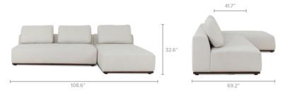 dimension of Warren Sectional Sofa