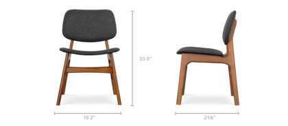 dimension of Joshua Chair, Walnut Leg