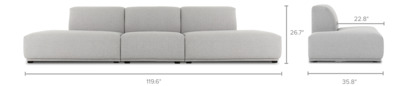 dimension of Todd Extended Chaise Sofa