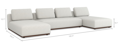 dimension of Warren C-Shape Sectional Sofa