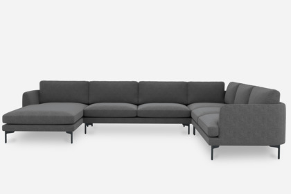Pebble U Shape Sectional Sofa With Chaise Fumo Gray Left Facing Castlery United States